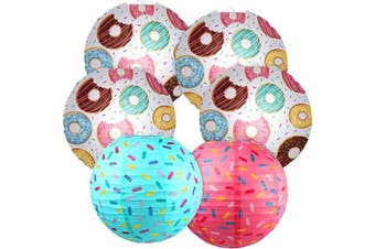 Donut Birthday Party Decorations, Donut Party Lanterns Assorted Colour Sprinkle Donut Hanging Paper Lanterns Round Hanging Paper Lanterns Decoration for Donut Kids Baby Shower Birthday Party Supplies