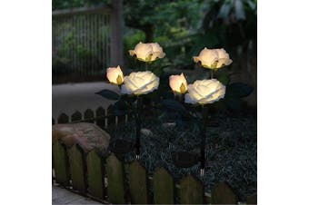 (White) - Solar Garden Lights Outdoor Decorative Rose Flowers Lights LED Colour Changing Solar Stake Lights Waterproof for Garden, Courtyard, Backyard Decoration Perfect Valentine's Day Gift (White)
