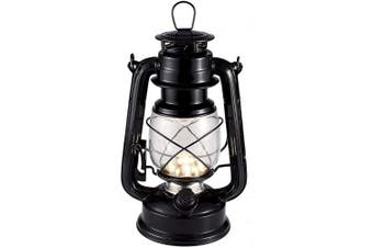 (Black/Warm White) - Vintage LED Hurricane Lantern, Warm White Battery Operated Lantern, Antique Metal Hanging Lantern with Dimmer Switch, 15 LEDs, 150 Lumen for Indoor or Outdoor Usage (Black)