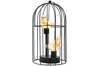 (Black Double Bird) - JHY DESIGN Birdcage Decorative Lamp Battery Operated 30cm Tall Cordless Accent Light with Warm White Fairy Lights Bird Bulb for Living Room Bedroom Kitchen Wedding Xmas(Black)