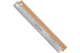 (30cm  Single) - Breman Precision Stainless Steel Metal Ruler - Straight Edge Ruler With Inch and Metric Graduations For School Office Engineering Woodworking - Flexible with Non-Slip Cork Back - 30cm Ruler