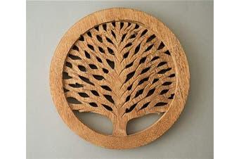 (Set of 2 Natural) - Set of 2 Wooden Trivet Tea Pot Holder Tree of Life Design Heat Resistant Durable Handmade Mango Wood Kitchen Dining Table Accessories Dia 20cm Inch (Set of 2 Natural)
