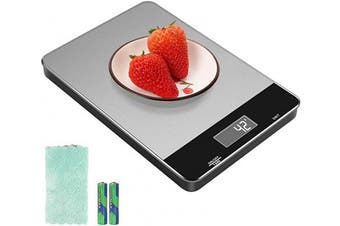 (15kg) - Kitchen Scale with Waterproof Glass Surface, 15kg Digital Food Scale Weight Grammes and oz for Baking Cooking, Touch Button, 5ml Precise Graduation, Tare Function, 6 Unit, Batteries and Towel Included