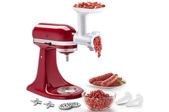 (6 small parts) - Food Meat Grinder Attachments for KitchenAid Stand Mixers, Durable Meat Grinder, Sausage Stuffer Attachment Compatible with All KitchenAid Stand Mixers, includes 2 Sausage Stuffer Tubes, White