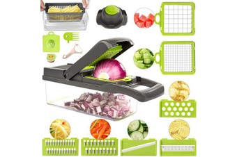 (Black) - Vegetable Chopper Slicer, Onion Chopper Slicer with Container, 12 in 1 Chopper Dicer Kitchen Cutter for Carrots, Cabbage, Potato, Garlic, Tomato, Fruit, Salad