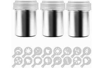 3 Pcs Coffee Cocoa Dredges with Fine-Mesh Lid, Stainless Steel Mesh Shaker Powder Cans For Baking Cooking Home
