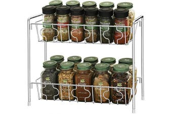 SimpleHouseware 2-Tier Kitchen Counter Organiser Spice Rack, Chrome