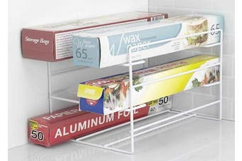 (1, White) - Home Basics 3 Tier Heavy Duty Kitchen Countertop or Cabinet Wrap Organiser for Food Wrap, Foil, Wax Parchment Paper, Plastic Bags White Finish