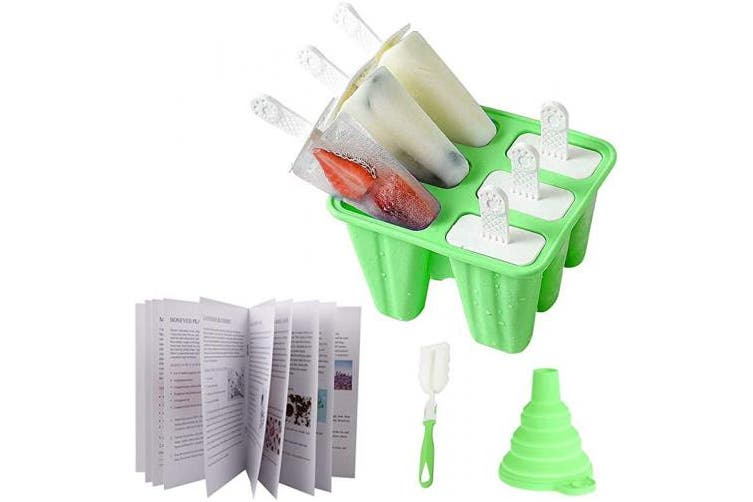(Green) - Silicone Popsicle Moulds Set Ice Pop Moulds Homemade Popsicle Maker Reusable Ice Cream DIY Pop Moulds-BPA Free Silicone Funnel 6 Holders Custom Recipes Cleaning Brush