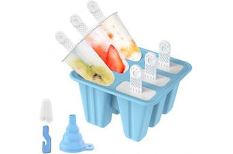 Popsicle Moulds, Ozera 6 Pieces Reusable Ice Pop Moulds Silicone Popsicle Maker With Silicone Funnel & Cleaning Brush