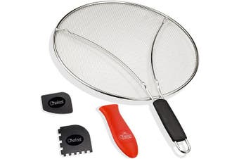 (33cm ) - Chefast Splatter Screen Set: 33cm Stainless Steel Grease Guard, Grill and Cooking Pan Scrapers, and Silicone Hot Handle Holder - Oil Shield for Frying Pans and Skillets