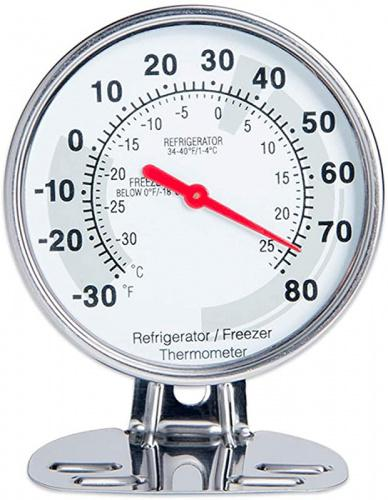 (Fridge Thermometer) - Classic Design Stainless Steel Large Dial Fridge Thermometer Freezer Thermometer with Both Fahrenheit & Celsius Degree Size: Fridge Thermometer