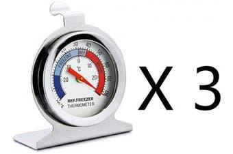 (3, Silver) - Tru Temp Refrigerator-Freezer Thermometer