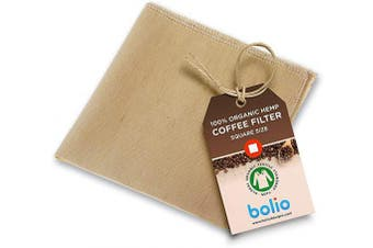 (1, Square) - Organic Hemp Cone Coffee Filter Reusable and Great for Making Smooth Natural Tasting Pour Over Coffee Eco-Friendly Bacteria Resistant Material by Bolio (1, Square)