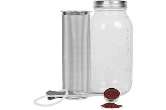 (1890ml) - Cold Brew Coffee Maker Filter for 1.9l1890ml Wide Mouth Mason Jar-Iced Coffee & Tea & Fruit Maker-Food-grade 304 Stainless Steel coffee Filter-Free silicone seal gasket & Coffee Scoop.(Jar NOT Included)