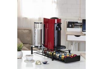 (Glass-30pods) - Flagship Coffee Pod Holder Storage Glass Drawer for Nespresso VertuoLine VertuoPlus Capsules Single Serve with Mesh Bottom Black Metal (30 Pods)