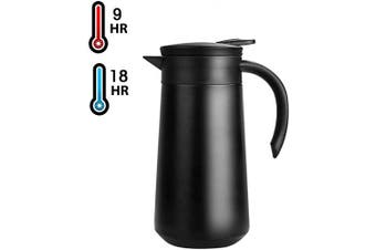 (Black) - 830ml Coffee Carafe Airpot Insulated Coffee Thermos Urn Stainless Steel Vacuum Thermal Pot Flask for Coffee, Hot Water, Tea, Hot Beverage - Keep 9 Hours Hot, 18 Hours Cold (Black)