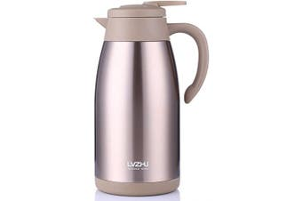(Golden) - Stainless Steel Thermal Coffee Carafe 2 Litre,Large Double Walled Insulated Vacuum Flask,12 Hour Heat Retention Beverage Server Pot,With Press Button Easy Open(Golden)