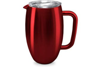 (Jewel Red) - True North Stainless Steel Insulated Pitcher + Carafe with No-Spill BPA Free Triton Lid, Keeps Drinks Hot or Cold for 24 Hours, Perfect for Lemonade, Sangria, Coffee or Milk, 1480ml, Jewel Red