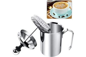 (Stainless Steel) - Manual Milk Creamer Hand Pump Frother Cappuccino Latte Coffee Foam Pitcher with Handle, Lid, Double Layer Filter Screen, Stainless Steel, 17-Ounce Capacity (500ml)
