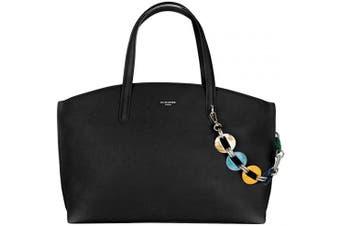 (Black) - David Jones - Women's Large Tote Shopper Bag - Ladies Top-Handle Bag PU Leather - Casual Shoulder Crossbody Bag - Fashion Elegant Work Travel School Office City - Black