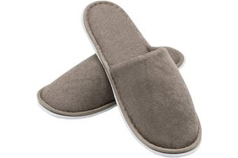 (One Size, Brown) - ZOLLNER 10 Pairs Hotel Guest Slipper, spa Slipper, Closed Toe, Universal Size, White, 015