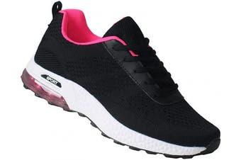 (3 UK, Black Pink White) - Womens Ladies Lightweight Memory Foam Lace Up Running Fitness Trainers Sizes UK 3-8