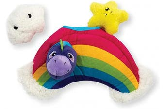 (One-Size, Rainbow) - Outward Hound Hide-A-Squirrel Squeaky Puzzle Plush Dog Toy - Hide and Seek Activity for Dogs