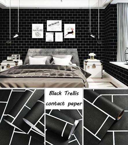 """(Black) - Black Brick Wallpaper Black Trellis Contact Paper Decorative Wallpaper Peel and Stick Wallpaper Self Adhesive Wallpaper Removable Wallpaper Brick Subway Tile for Wall 17.7""""×78.7"""" Vinyl Colour: Black 🎄Colour: black. MATERIAL-Vinyl. Package Included- One Roll 🎄SIZE- 78.7""""×17.7""""/Roll(0.9sqm per roll). black subway tile contact paper black brick contact paper. 🎄UPGRADE PRODUCT- upgrade increase pores and reduces bubble generation. Which is easier to clean than traditional wallpaper/contact paper. 🎄instal- Just cut along the grid of the back, then peel and stick. If you still find a few bubbles, you can just get a needle and poke the air out, and this will leave no trace. 🎄CONTACT US- Our customer service is available 24/7 to answer your technical questions. If you have any questions, don't hesitate to contact us!"""