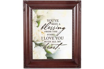 (Mahogany Rope Trim) - Cottage Garden You've Been a Blessing Mahogany Rope Trim 8 x 10 Table Top and Wall Photo Frame