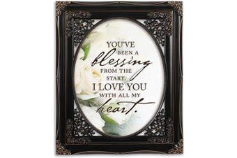 (Black Floral Cutout) - Cottage Garden You've Been a Blessing Black Floral Cutout 8 x 10 Table Top and Wall Photo Frame