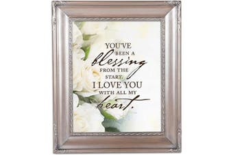 (Brushed Silver Rope Trim) - Cottage Garden You've Been a Blessing Brushed Silver Rope Trim 8 x 10 Table Top and Wall Photo Frame