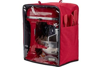 (Fit for Bowl Lift 5-7.6l, Empire Red) - HOMEST Visible Stand Mixer Dust Cover with Pockets Compatible with KitchenAid Bowl Lift 5-7.6l, Empire Red (Patent Pending)