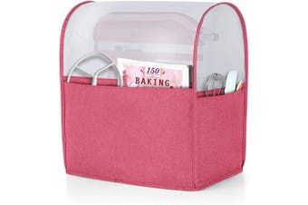 (Fits for 4.3l and All 4.3l, Red) - Luxja Dust Cover for 4.3l and 4.3l Stand Mixer, Cover (Cloudy Top) with Pockets for Stand Mixer and Extra Accessories, Red (Patented Design)