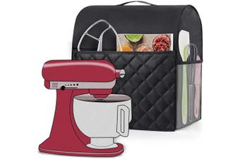 (Type 1: 4.3l and All 4.3l, Black (Quilted Fabric)) - Luxja Dust Cover Compatible with 4.3l and 4.3l KitchenAid Mixers, Dust Cover with Handle for 4.3l and 4.3l Stand Mixers and Extra Accessories, Black (Quilted Fabric)