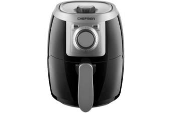 (1.9l) - Chefman TurboFry 1.9l Air Fryer, Personal Compact Healthy Fryer w/ Adjustable Temperature Control, 30 Minute Timer and Dishwasher Safe Basket, Black