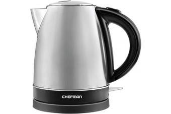 (Stainless Steel) - Chefman Stainless Steel Electric Kettle with BPA Free Interior Quick Boil, Swivel Base for Cordless Pouring or Filling and Auto Shutoff – 1.7 Litre 1500 Watts 120V (Silver)