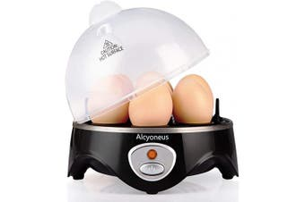 (Black) - Alcyoneus Rapid Egg Cooker, Electric Egg Boiler, Noise-Free Hard Boiled Egg Cooker with Auto Shut Off & 7-Capacity, Suitable for Poached Egg, Scrambled Eggs, Omelettes - Black