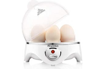 (White) - Alcyoneus Egg Cooker, Egg Boiler Electric, Hard Boiled Egg Maker with Auto Shut Off, Noise-Free & 7-Capacity, Suitable for Poached Egg, Scrambled Eggs, Omelettes - White (5 BPA-free/ETL Listed/FDA Compliant)
