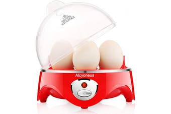(Red) - Alcyoneus Egg Cooker, Egg Boiler Electric, Noise-Free Hard Boiled Egg Maker with Auto Shut Off & 7-Capacity, Suitable for Poached Egg, Scrambled Eggs, Omelettes - Red (5 BPA-free/ETL Listed/FDA Compliant)