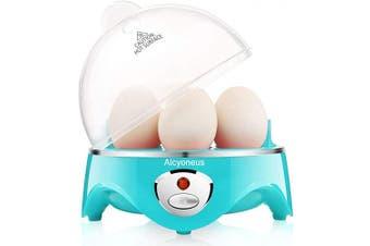 (Aqua) - Alcyoneus Egg Cooker, Egg Boiler Electric, Hard Boiled Egg Maker with Auto Shut Off, Noise-Free & 7-Capacity, Suitable for Poached Egg, Scrambled Eggs, Omelettes - Aqua
