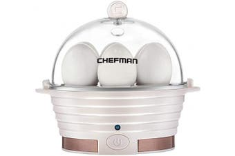 (Ivory) - Chefman Electric Egg Cooker Boiler, Rapid Egg-Maker & Poacher, Food & Vegetable Steamer, Quickly Makes 6 Eggs, Hard, Medium or Soft Boiled, Poaching/Omelette Tray Included, Ready Signal, BPA-Free, Ivory