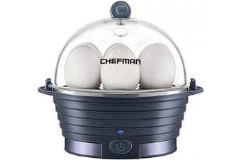 (Midnight Blue) - Chefman Electric Egg Cooker Boiler, Rapid Egg-Maker & Poacher, Food & Vegetable Steamer, Quickly Makes 6 Eggs, Hard, Medium or Soft Boiled, Poaching/Omelette Tray Included, BPA-Free, Midnight Blue