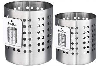 (LS) - Utensil Holder Stainless Steel, KSENDALO Kitchen Silverware Holder Set of 2, Kitchen Utensil Drying Cylinder,utility for Kitchen/Home/Office, Diameter 12cm & 10cm (L & S)