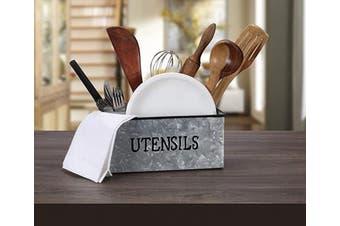 (11.4x 8.5.1cm  x 11cm , Gray) - Utensil Holder, Flatware Caddy Storage Large Kitchen Drawer Organiser Bathroom Drawer Organiser Kitchen Drawer Organiser for Large Utensils Desk Organiser Pen Pencil Holder Storage - Antique Grey