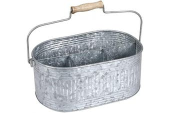 (13.5x 10Inches x 14cm , Antique Gray) - Farmhouse Utensil Caddy Carry-All Serveware Galvanised Metal Organiser for Kitchen Counter - Comfortable Wooden Handle Indoor/Outdoor Storage For Flatware, Condiments - Antique Grey