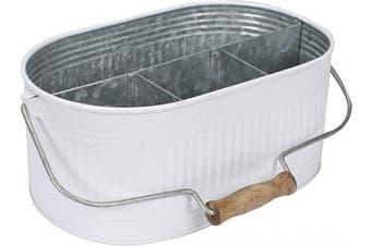 (13.5x 10Inches x 14cm , White/Grey) - Flatware Caddy, Storage Large Kitchen Drawer Organiser, Bathroom Drawer Organiser, Kitchen Drawer Organiser for Large Utensils, Desk Organiser Pen Pencil Holder Storage - White/Grey