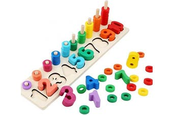 Afufu Counting Toys Montessori Wood Blocks Puzzle Math Sorting Stacking Number Counting Board Fishing Pole Game Play Set Learning Toys for Toddler Preschool Kids