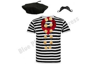 "((Medium 38-40"" Chest)) - Blue Planet COMPLETE Mens French Man Costume Striped T Shirt, Beret, Scarf, Garlic Garland & Moustache ((Medium 100cm - 100cm Chest))"