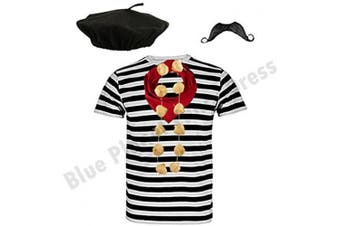 """((Large 42-44"""" Chest)) - Blue Planet COMPLETE Mens French Man Costume Striped T Shirt, Beret, Scarf, Garlic Garland & Moustache ((Large 110cm - 110cm Chest))"""